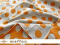 【 maffon (マフォン) 】 約75cm幅 リバーシブルジャガード接結ニット 『バブルドット柄 』 杢グレー/コニャック