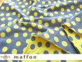 【 maffon (マフォン) 】 約75cm幅 リバーシブルジャガード接結ニット 『 ドロップキャンディ柄 』 デニム/レモン