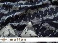 【 maffon (マフォン) 】 約75cm幅 リバーシブルジャガード接結ニット 『 ゼブラ柄 』 ネイビー/杢グレー