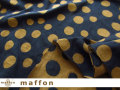 【 maffon (マフォン) 】 約75cm幅 リバーシブルジャガード接結ニット 『バブルドット柄 』 ネイビー/シナモン