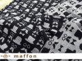 【 maffon (マフォン) 】 約75cm幅 リバーシブルジャガード接結ニット 『 アンクルズ柄 』  黒/杢グレー