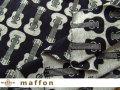【 maffon (マフォン) 】 約75cm幅 リバーシブルジャガード接結ニット 『 ギター柄 』  黒/杢グレー
