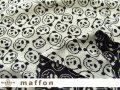 【 maffon (マフォン) 】 約75cm幅 リバーシブルジャガード接結ニット 『 スマイルパンダ柄 』  黒/アイボリー