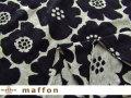 【 maffon (マフォン) 】 約75cm幅 リバーシブルジャガード接結ニット 『 アネモネ柄 』  黒/杢グレー