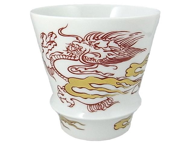 有田焼「匠の蔵」 至高の焼酎グラス 金彩赤龍