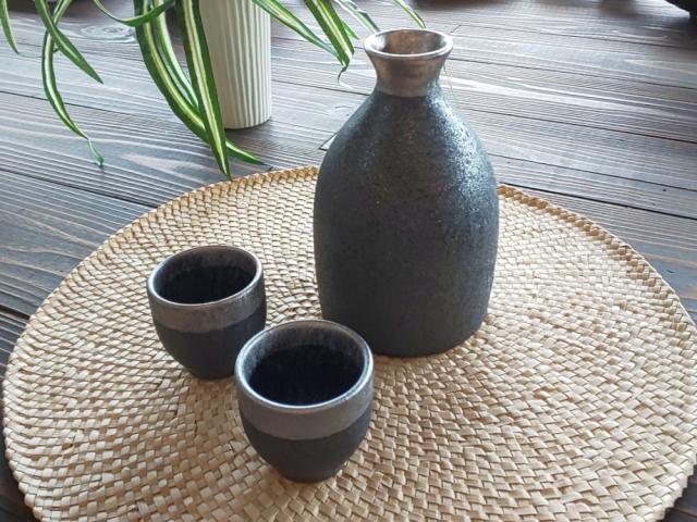 晶渕太銀塗 半酒器セット(2合徳利)