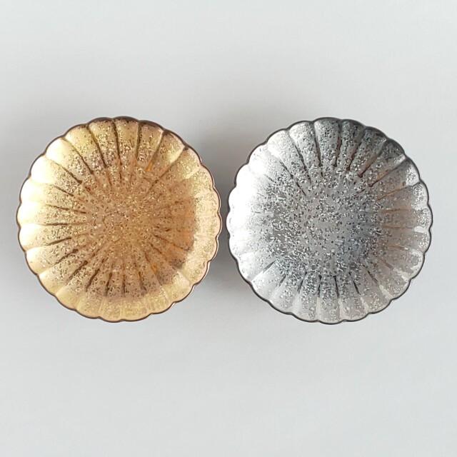 陶悦 菊割 菊皿 金銀