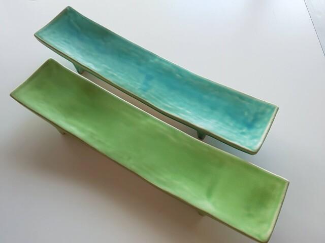 長ゲタ皿(青・緑)【在庫限りの限定価格】