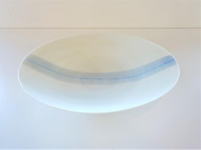 白マットブルーライン(1) 7寸平鉢【在庫限りの特別価格】