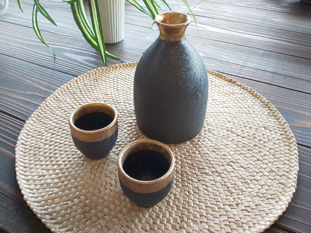 晶渕太金塗 半酒器セット(2合徳利)