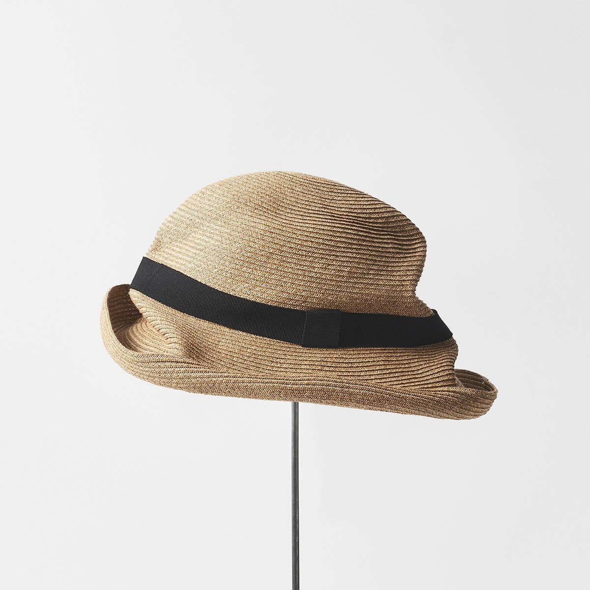 BOXED HAT 10cm brim grosgrain ribbon