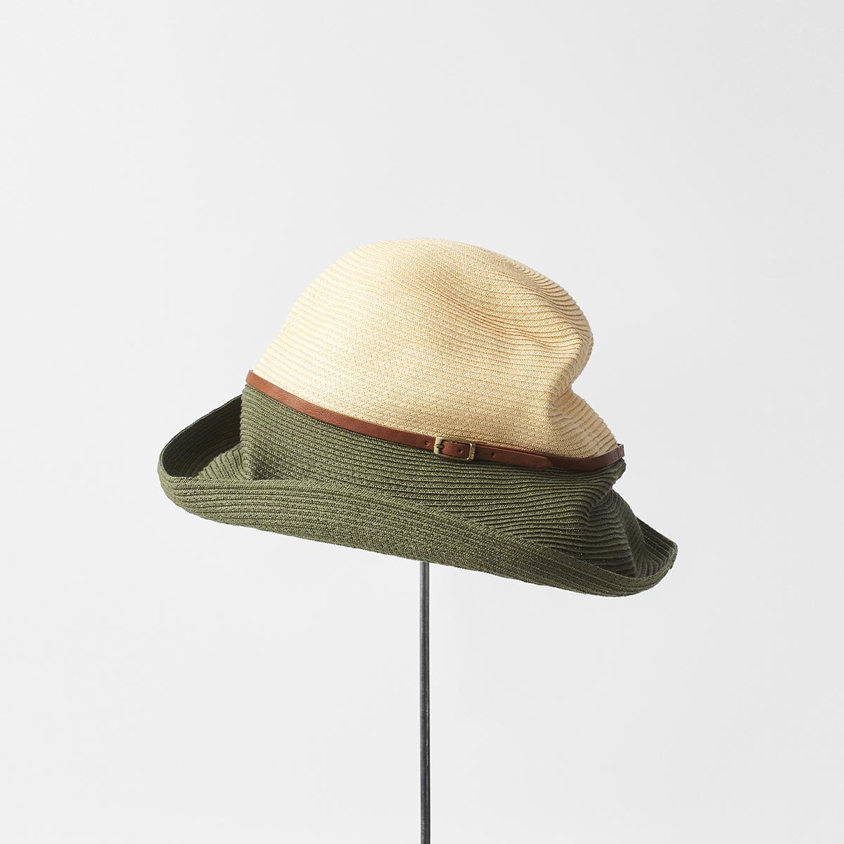 BOXED HAT 11cm brim 2tone color leather belt