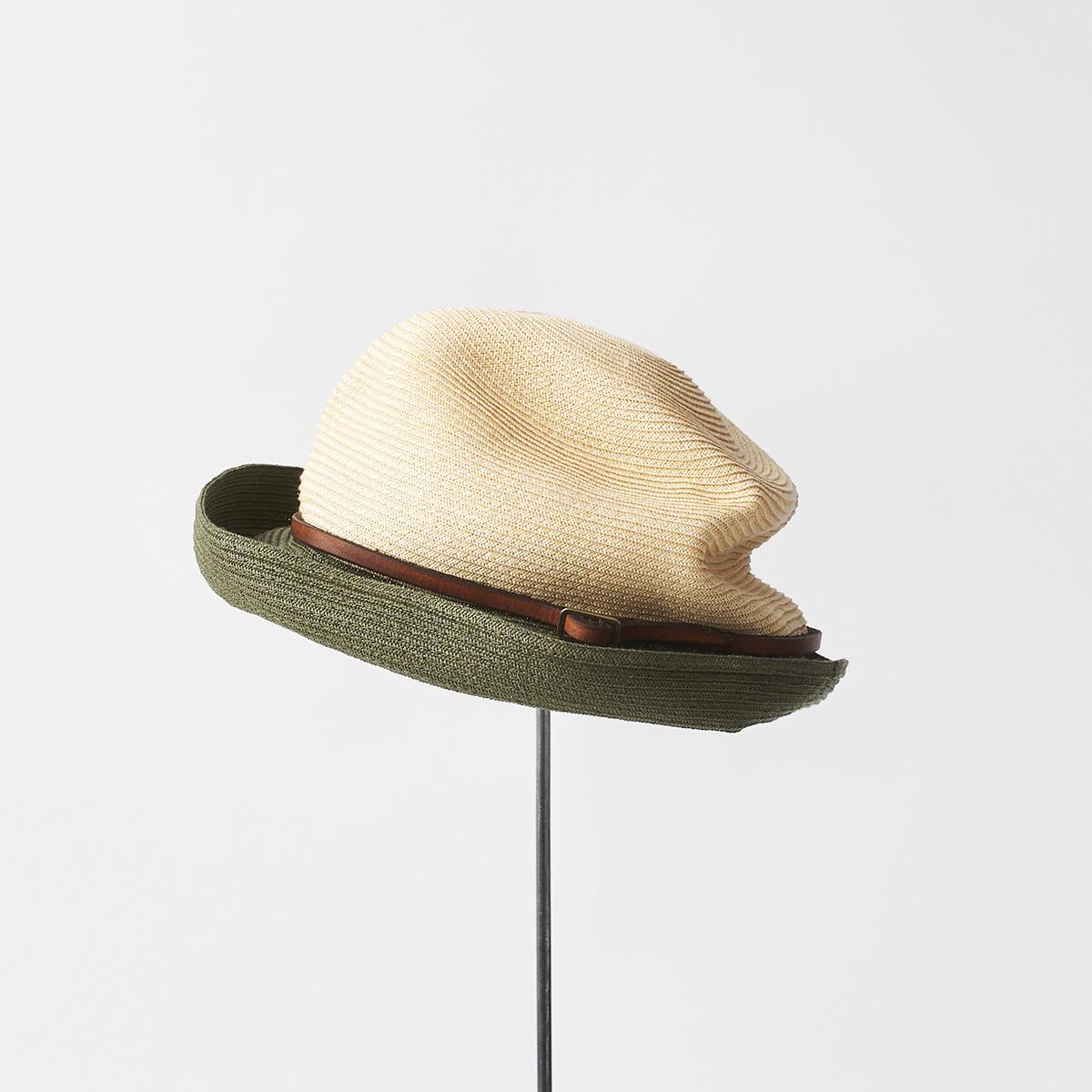 BOXED HAT 7cm brim 2tone color leather belt