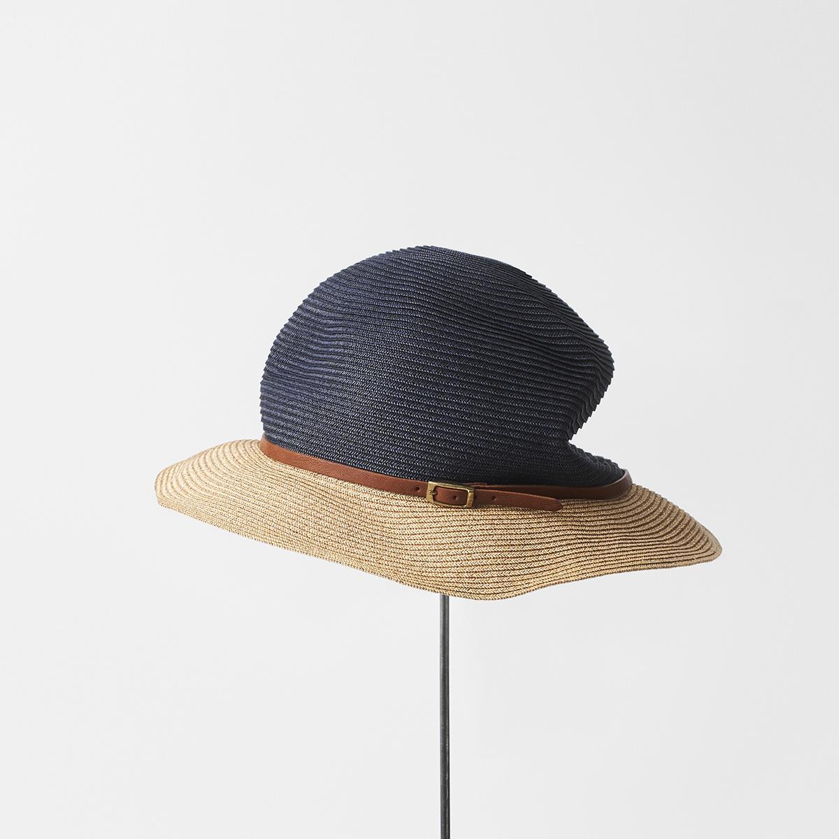 BOXED HAT 6.5cm brim 2tone color leather belt