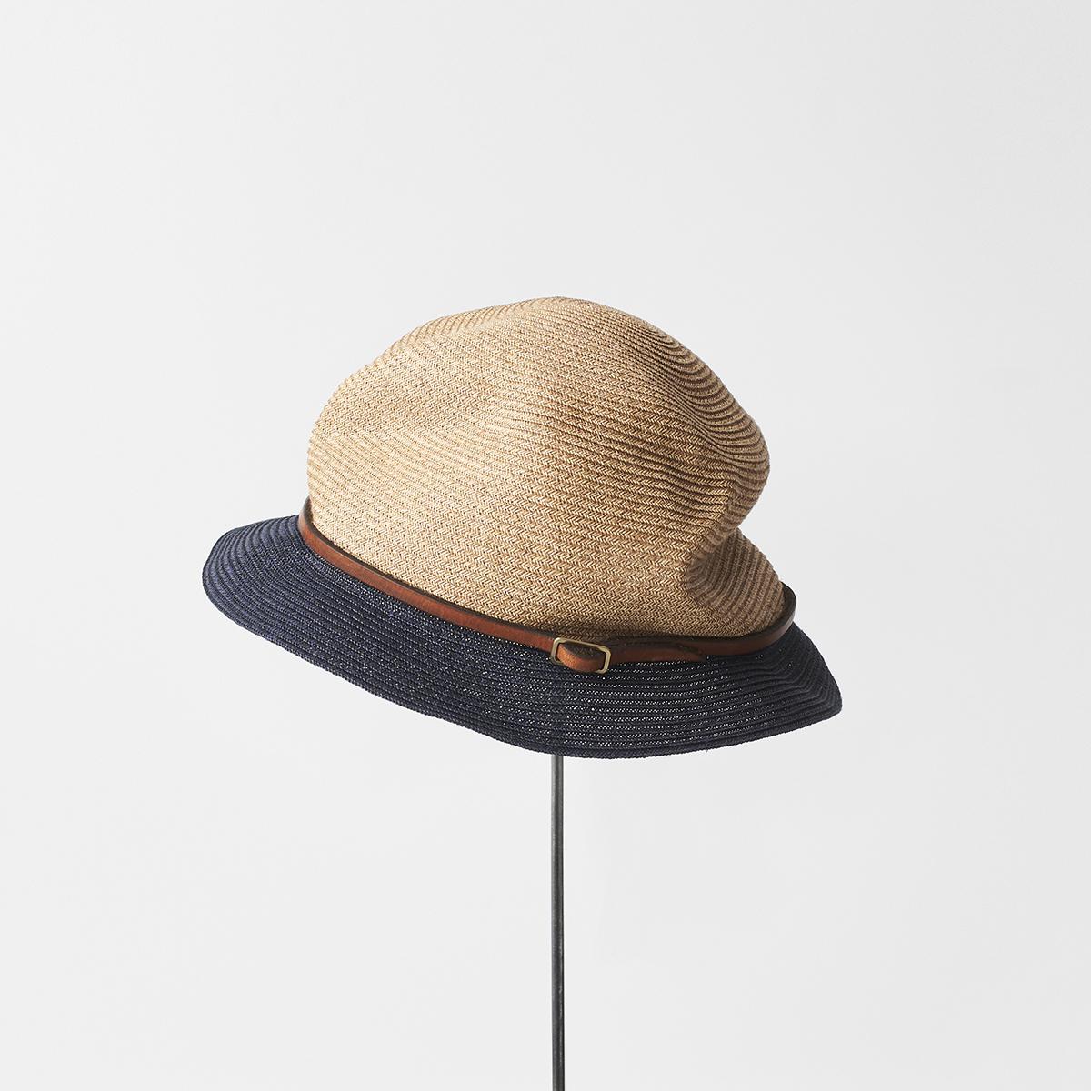 BOXED HAT 4.5cm brim 2tone color leather belt