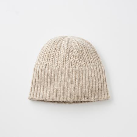 long rib knit cap tiny rope cashmere100