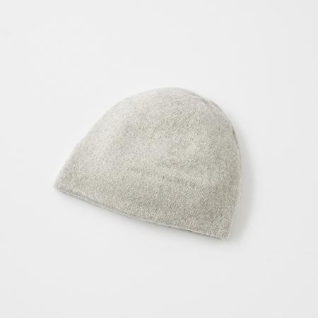 slant cutting knit felt cap cashmere & lamb