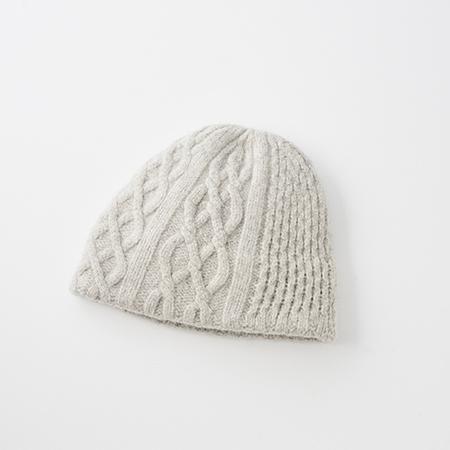 slant cutting knit felt relief cap aran2 cashmere & lamb