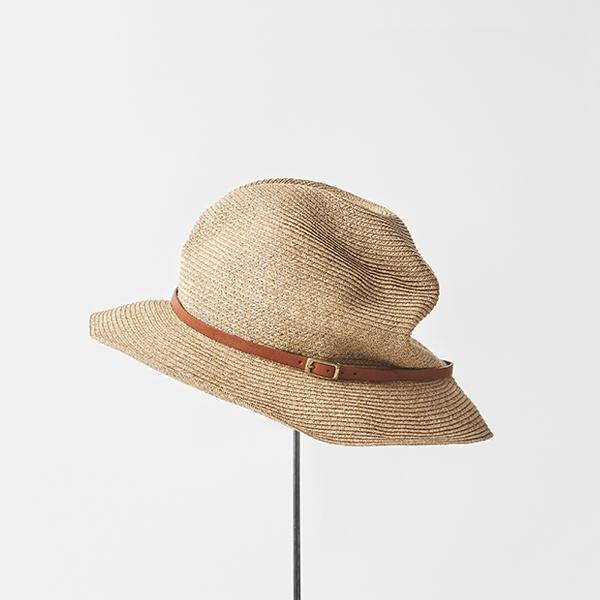 BOXED HAT 6.5cm brim leather belt