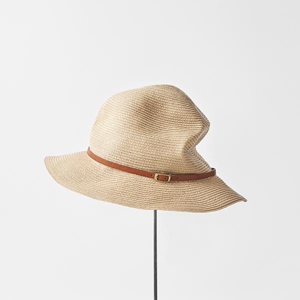 BOXED HAT 7cm brim leather belt