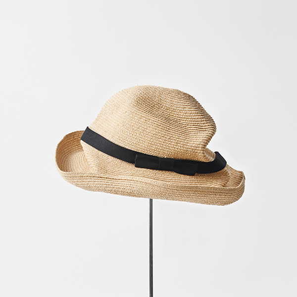 BOXED HAT raffia 11cm brim plain tape