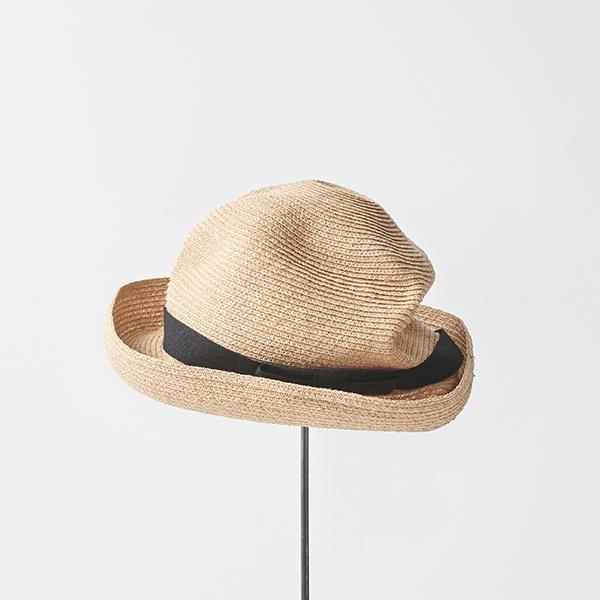 BOXED HAT raffia 7cm brim plain tape