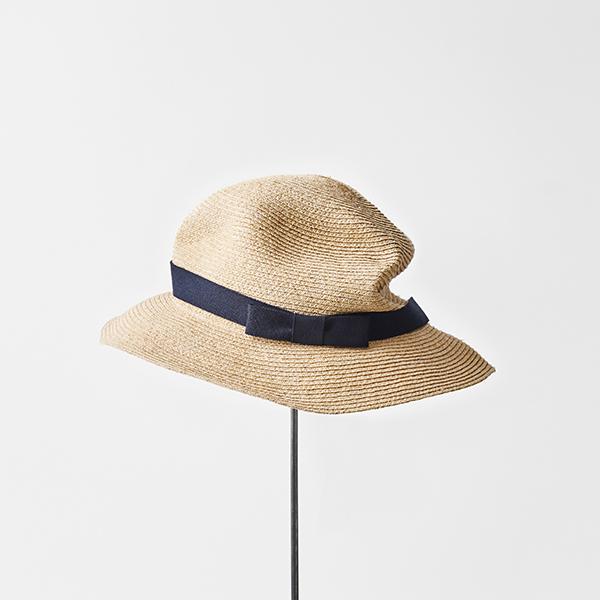 BOXED HAT raffia 6cm brim plain tape
