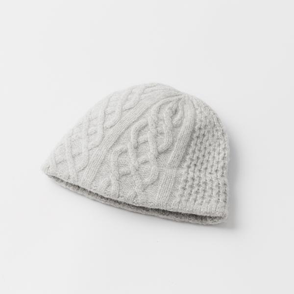 slant cutting knit felt relief cap aran2 lamb