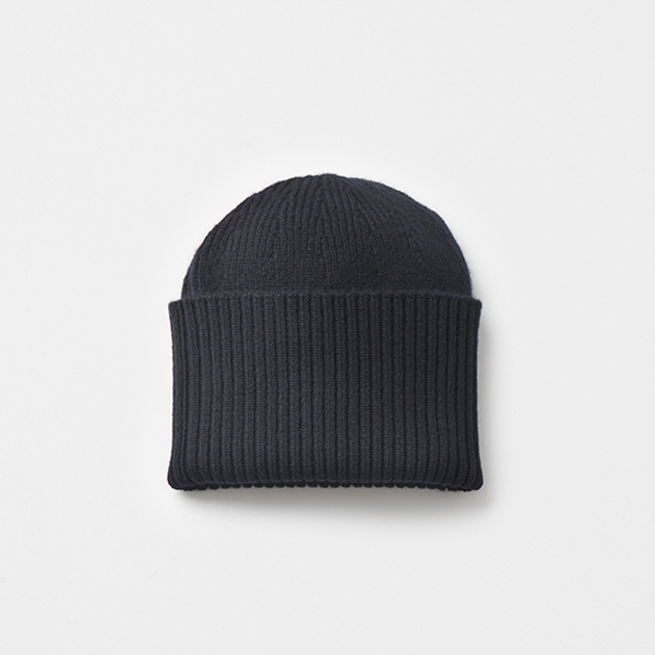 long rib knit cap cashmere 100