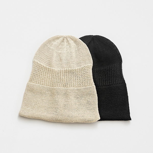 rolled edge knit cap linen