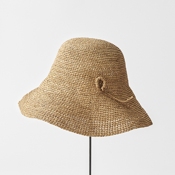 raffia hat wide ornament