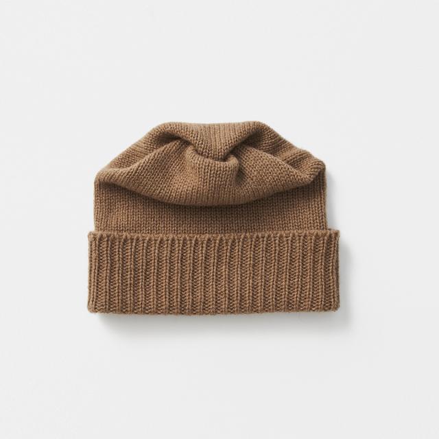pleats knit cap camel