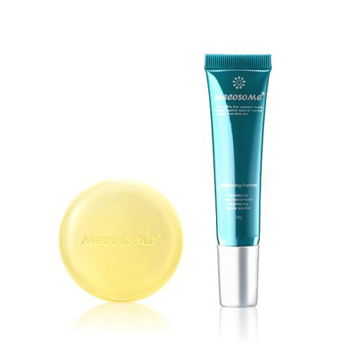 基礎化粧品セット「潤白2ステップ」(酵素石鹸+シミ取り)