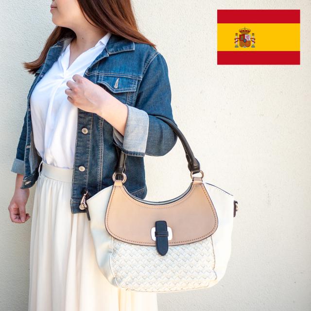 スペイン直送/網込風型押し2wayバッグ(アイボリー)