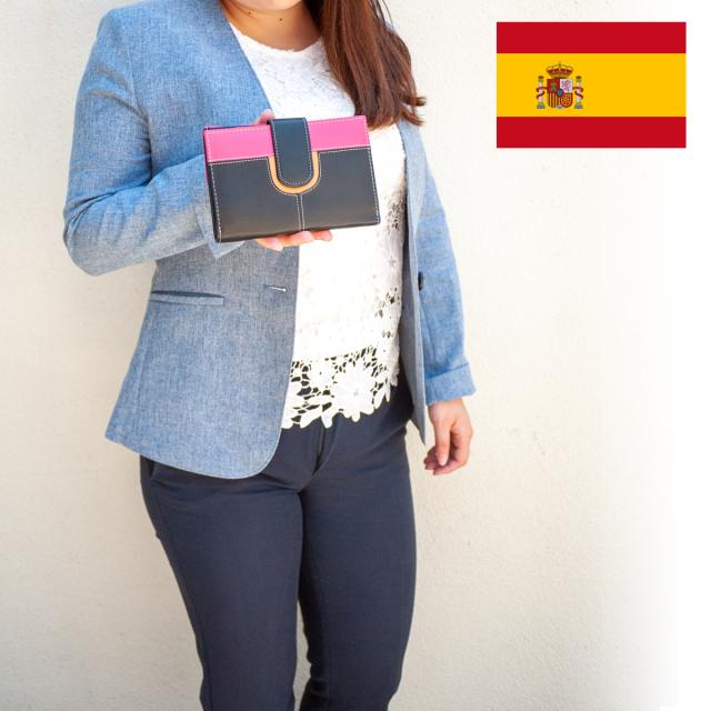 スペイン直送/本革切替2つ折財布