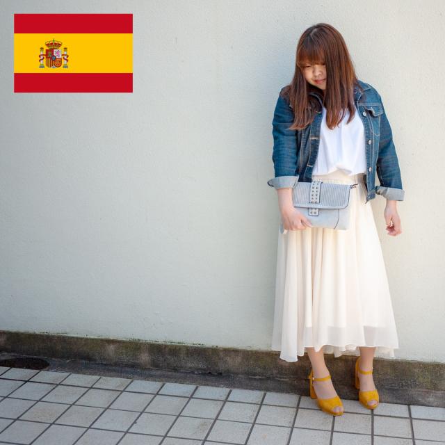 スペイン直送/リベット付クラッチバッグ(ライトグレー)