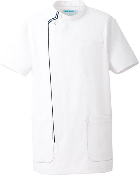[カゼン] KAZEN (旧アプロン製品)【Wストライプのモダンなデザインのメンズ医務衣】 メンズ ドクタージャケット 052-28 (ホワイト×ネイビー)