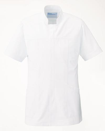 [カゼン] KAZEN (旧アプロン製品)【曲線的なデザインとスッキリしたシルエットのメンズ医務衣】 メンズ ドクタージャケット 093-20 (ホワイト×ホワイト)