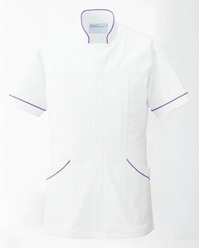 [カゼン] KAZEN (旧アプロン製品)【曲線的なデザインとスッキリしたシルエットのメンズ医務衣】 メンズ ドクタージャケット 093-29 (ホワイト×パープル)