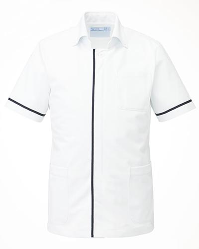 [カゼン] KAZEN (旧アプロン製品)【フロントのラインがシャープな印象のメンズ医務衣】 メンズ ドクタージャケット 095-28 (ホワイト×ネイビー)