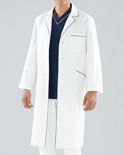 [カゼン] KAZEN 【ネイビーのパイピングがシャープなペア診察衣/ロング丈】 男性用 診察衣 118-18 (ホワイト)