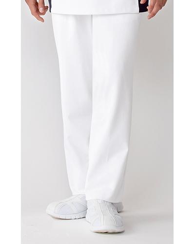 [カゼン] KAZEN 【着る人を選ばないウエスト脇ゴム仕様のツータックパンツ】  メンズ スラックス 257-20 (ホワイト)