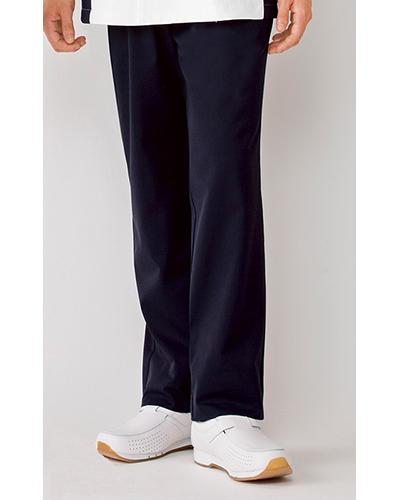 [カゼン] KAZEN 【着る人を選ばないウエスト脇ゴム仕様のツータックパンツ】  メンズ スラックス 257-28 (ネイビー)