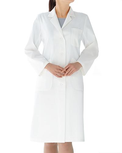 [カゼン] KAZEN 【シワになりにくく、格調ある診察衣/白衣】 女性用 シングル 診察衣 260-90 (オフホワイト)