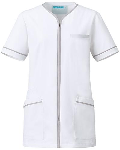 [カゼン] KAZEN 【知的でエレガントなデザインが魅力】  レディース ジャケット 782-40 (ホワイト×シルバー)
