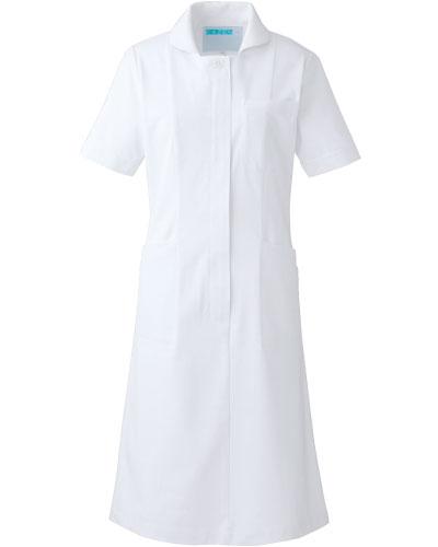 [カゼン] KAZEN 【ソフトな風合いの配色パイピングのナース服/医療白衣】 ワンピース半袖 020-20 (ホワイト×ホワイト)