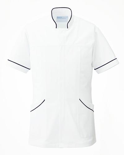 [カゼン] KAZEN (旧アプロン製品)【曲線的なデザインとスッキリしたシルエットのメンズ医務衣】 メンズ ドクタージャケット 093-28 (ホワイト×ネイビー)