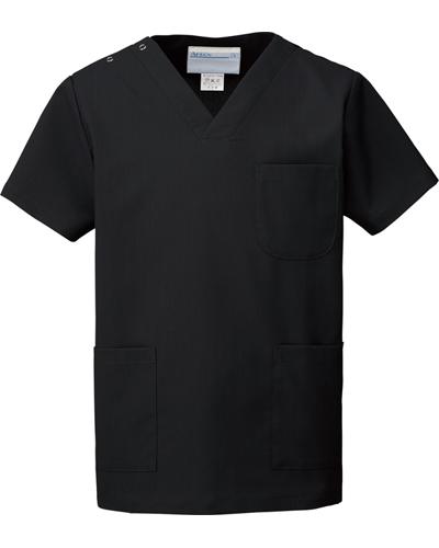 [カゼン] KAZEN 【医療ドラマ コードブルー採用で大好評のスクラブ白衣】  男女兼用 スクラブ 133-99 (ブラック)