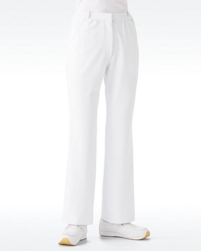 [カゼン] KAZEN 【股上を浅くし、脚のラインをキレイに見せるブーツカットパンツ】 女性用 ブーツカットパンツ(ホワイト) 195-20