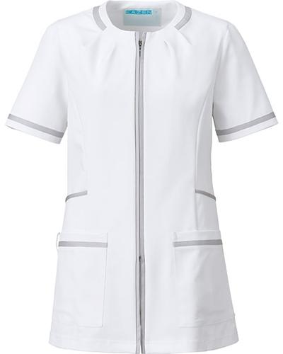 [カゼン] KAZEN 【知的でエレガントなデザインが魅力】  レディース ジャケット 780-40 (ホワイト×シルバー)